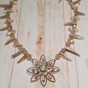 Repurposed Vintage Brooch Necklace Crystal NWT